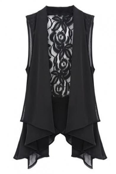Asymmetrical Hem Plain Lace Patchwork Sleeveless Tie Back Vest