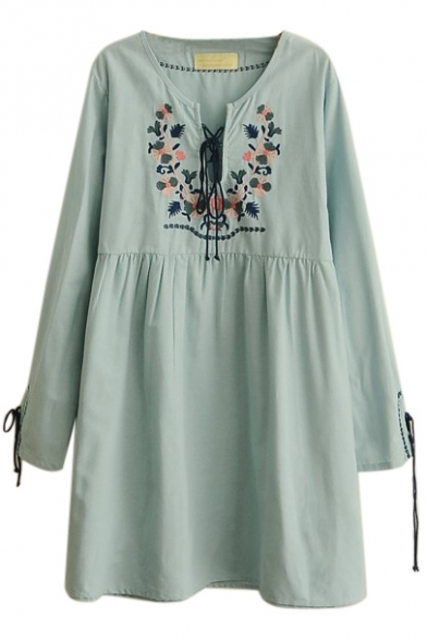 Floral Embroidery Crisscross Print Long Sleeve Smock Dress