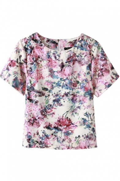 Round Neck Short Sleeve Floral Print Zip Back Tee