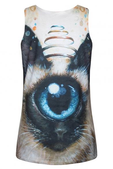 Eye Print 3D Sleeveless Tank Loose Scoop Animal Neck 5w4Fn1qBP