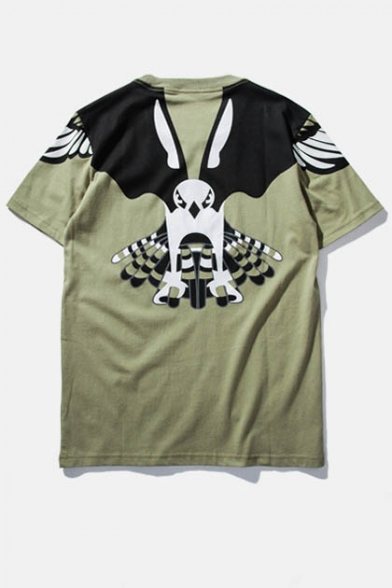 Military Sleeve Style Boyfriend Style Short Tee Print Eagle 5qTq7