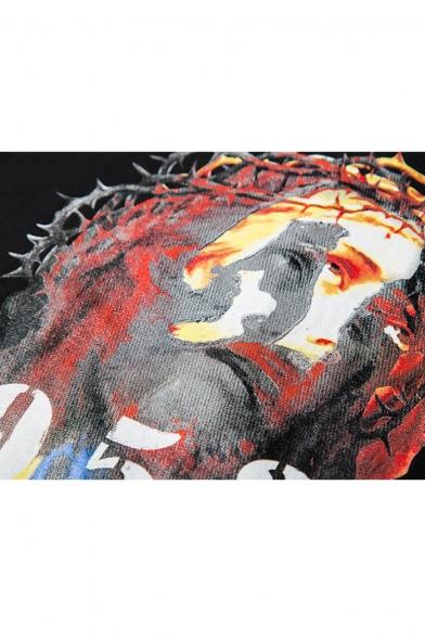 Round Black Number Neck Jesus amp; Short Sleeve Print Tee tBpxx4wqY