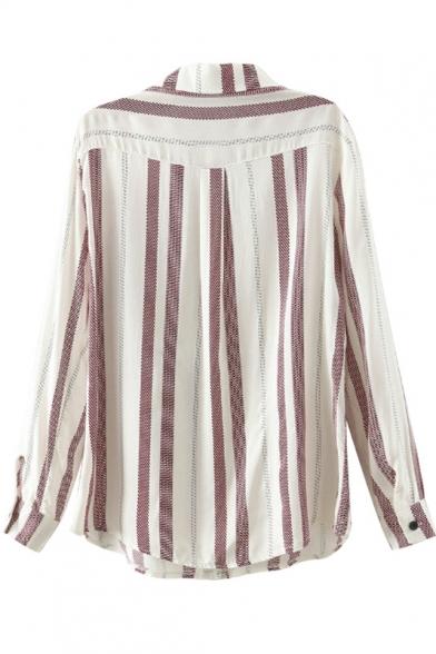 Color Stripes Pockets Lapel Shirt Double Loose Block wqA0nx