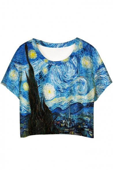 Oil Painting Print Short Sleeve Cropped Loose Tee