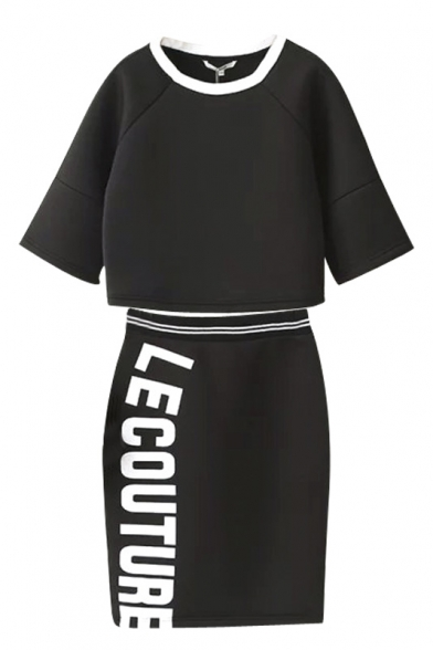 Round Neck Sweatshirt with Elastic Waist Letter Print Skirt