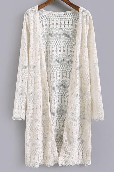 Cocoon Neck Plain Long Sleeve Lace Long Coat