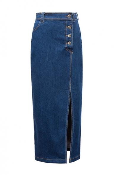 High Waist Button Fly Split Side Tube Maxi Denim Skirt