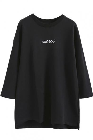 Round Neck 3/4 Length Sleeve Letter Print Tunic Sweatshirt