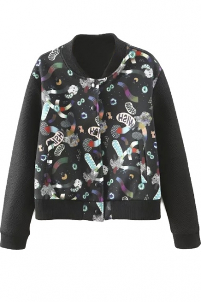 Abstract 3D Print Stand Up Neck Bomber Jacket