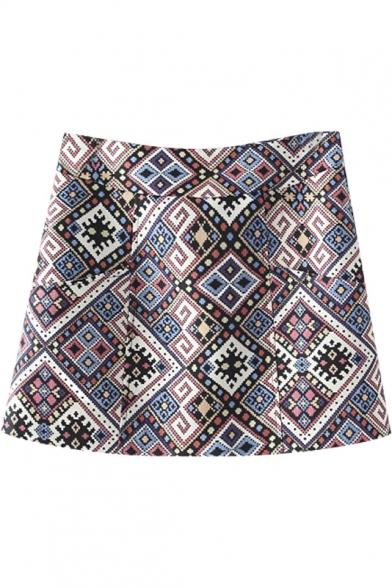 A-Line Vintage Geometric Print Mini Skirt