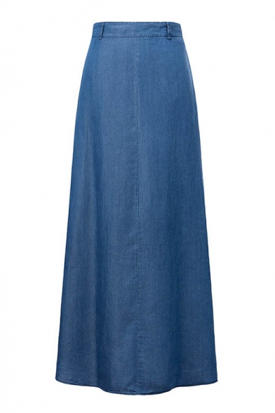 Plain High Waist A-Line Maxi Denim Single Pocket Skirt