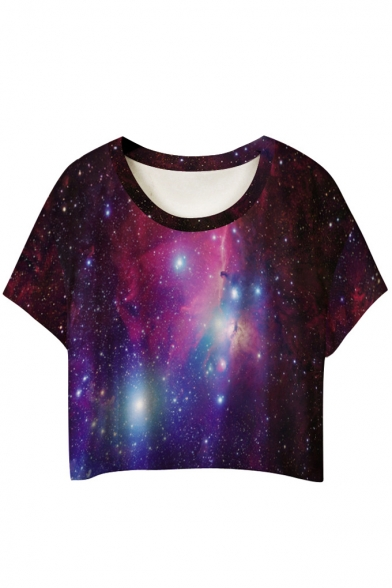 Round Neck Galaxy Print Short Sleeve Cropped Tee