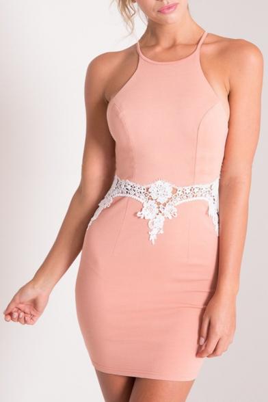 Halter Lace Patchwork Zip Back Color Block Bodycon Dress