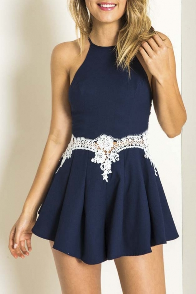 Halter Lace Detailed Ladder-Back Playsuits