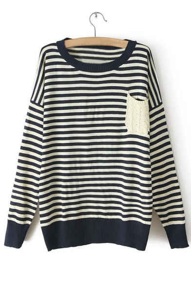 Scoop Neck Stripes Pocket Detailed Drop Sleeves Sweater