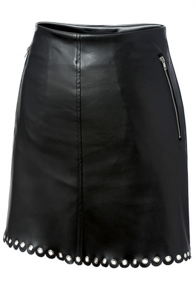 Sexy Black PU /Leather Mini Grommet Hem Zip Embellished Skirt