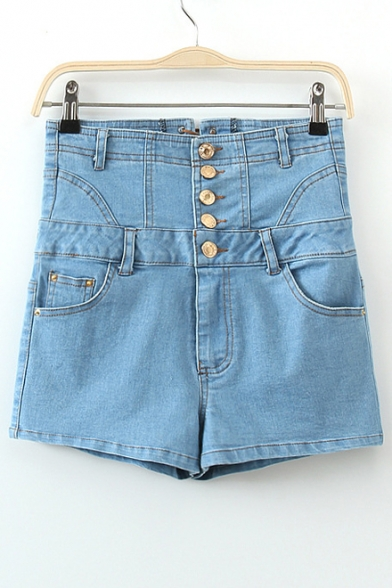 Blue Bleached Button Through Pockets High Waist Denim Shorts