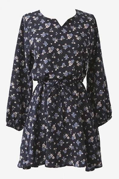 Floral Print V-Neck Sash Long Sleeves Tea-Dress