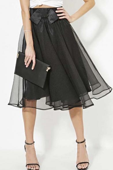Sweet Chic Bows Embellish Organza Tulle Elastic Waist Skirts