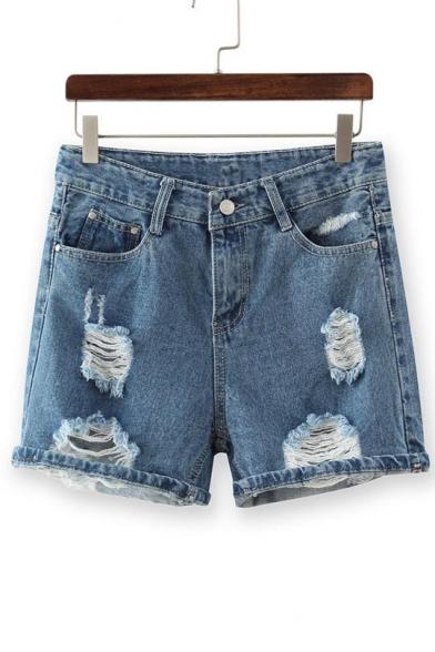 High-Waist Single Button Distressed Denim Shorts