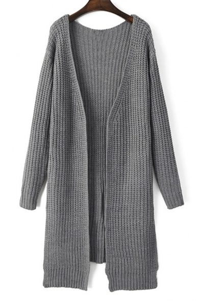Plain V-Neck Split Side Pocket Detail Long Line Cardigan