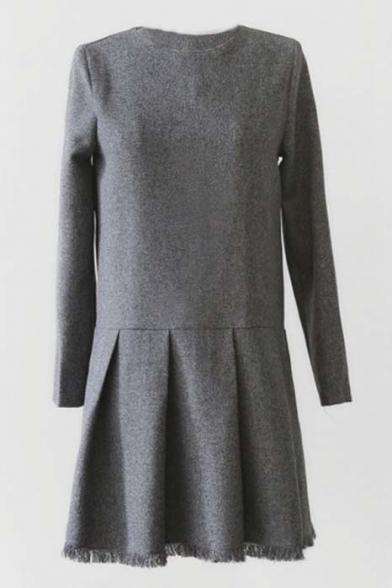 Gray Woolen Raw Edge Patchwork Mini Dress