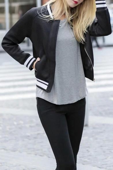 Stripe Trims Black Morden Women's Bomber Jackets