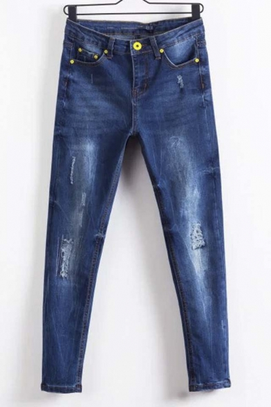 Zipper Studded Dark Wash Distressed Cropped Jean