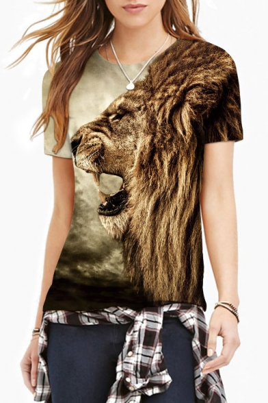 3D Lion Print Scoop Neck Short Sleeve Tee