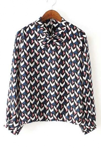 Stand Bow-Neck Color block Geometric Print Blouse