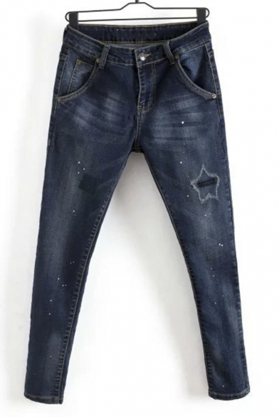 Zipper Fly Star Embroidery Bleached Harem Jeans