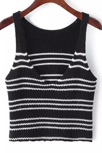 Black Stripes Deep V-Neck Sleeveless Cropped Knit Vest