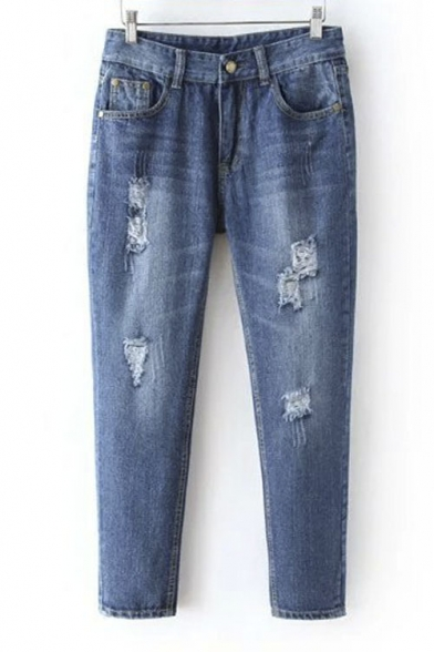 Distressed Medium Wash Ankle Length Tapered Jeans