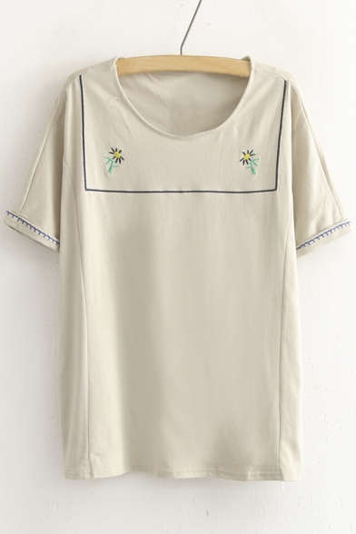 Scoop Neck Short Sleeve Flower Embroidery Cute Tee