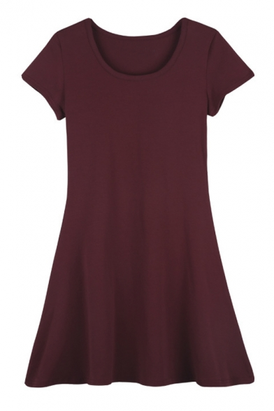 A-Line Scoop Neck Short Sleeves Plain T-shirt Dress