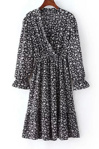 a563b40c0a Deep V-Neck Wrap Over Long Bell Sleeve With Ruffle A-Line Swing Hem Drap  Floral Print Dress - Beautifulhalo.com