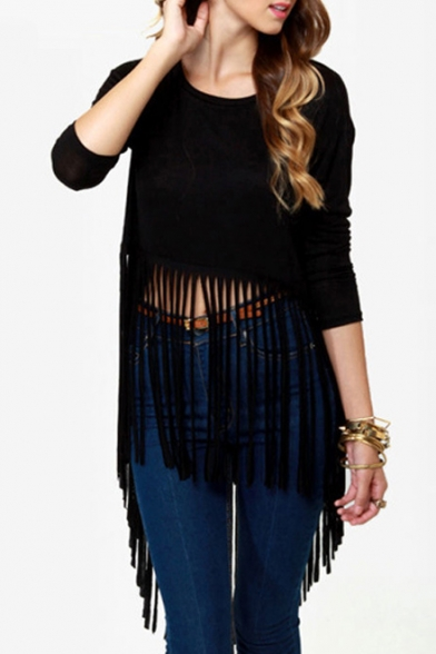 Black Sexy Asymmetrical Tassel Hem Long Sleeves T-Shirt