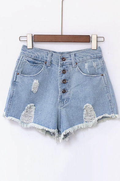 New High Waist Button Fly Ripped Fray Hem Denim Hot Shorts