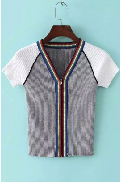 V-Neck Zipper Short Sleeves Color Block Skinny Knitwear