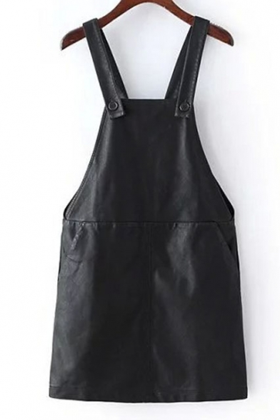 Double Pockets PU Leather Black Overall