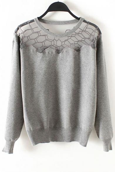 Embroidered Lace Patchwork Neckline Round Neck Sweater