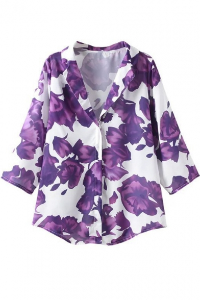 Beautiful Spring Summer Romantic Floral Print Lapel 3/4 Sleeve Elegant Blouse&Tops