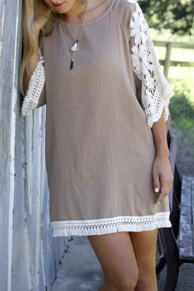 Lace Paneled Round Neck Crepe Loose Fit Dress