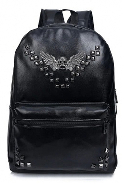 Cool Black PU Laptop Backpack/Laptop Bag/School Bag/Travel Bag