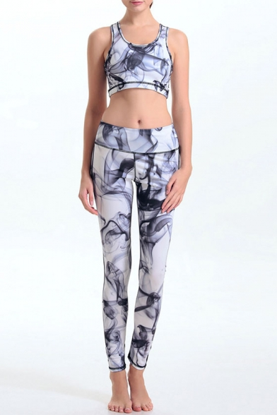 6c543090c1 Women's Print Tight-Fitting Scoop Neck Crop Top with High Stretchy Yoga  Leggings Co-