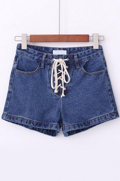 New Design Lace Up Front Plain Denim Shorts - Beautifulhalo.com