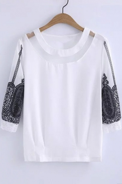 New Popular Design Lace Embellish Blouson Sleeve Sheer Fishline Chic Blouse&Tops