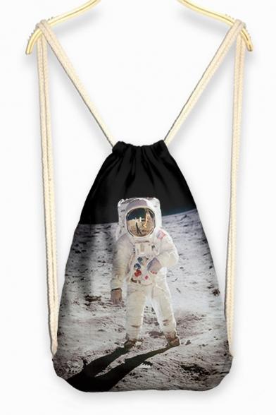 Casual Character Print Linen Drawstring Backpack