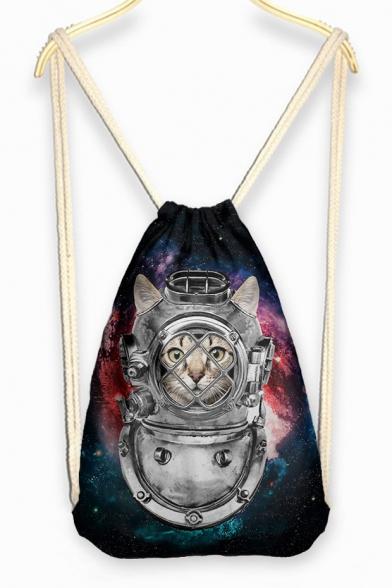 Comical Cat Print Grils Linen Drawstring Backpack