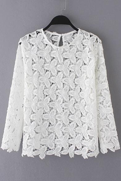 Crochet Button Back Long Sleeves Blouses